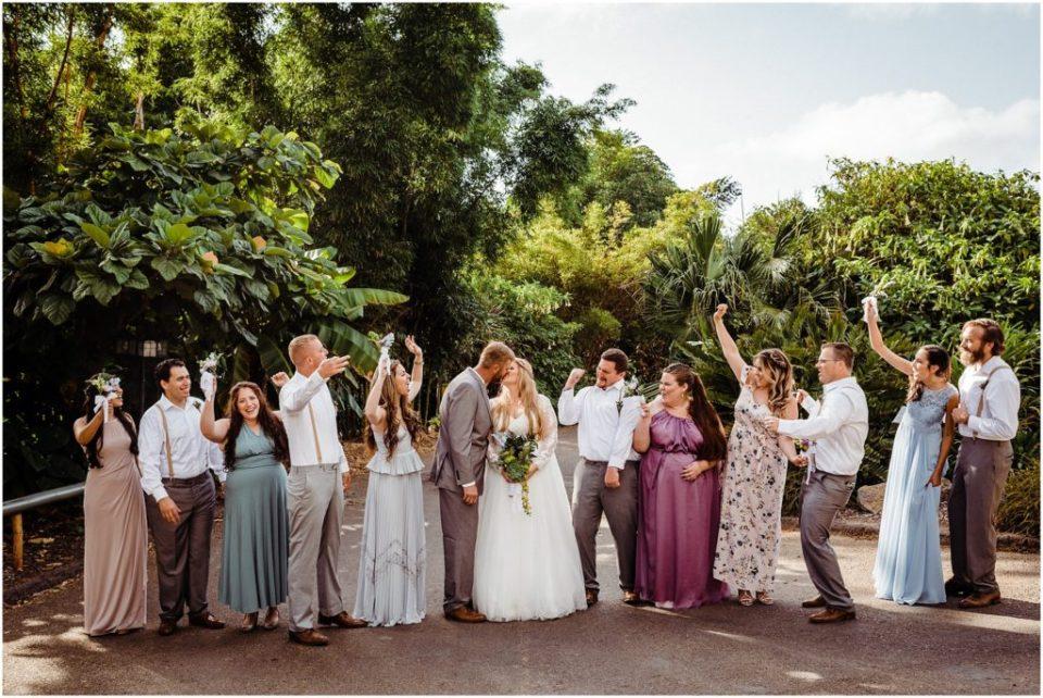 san diego botanic garden wedding party photos