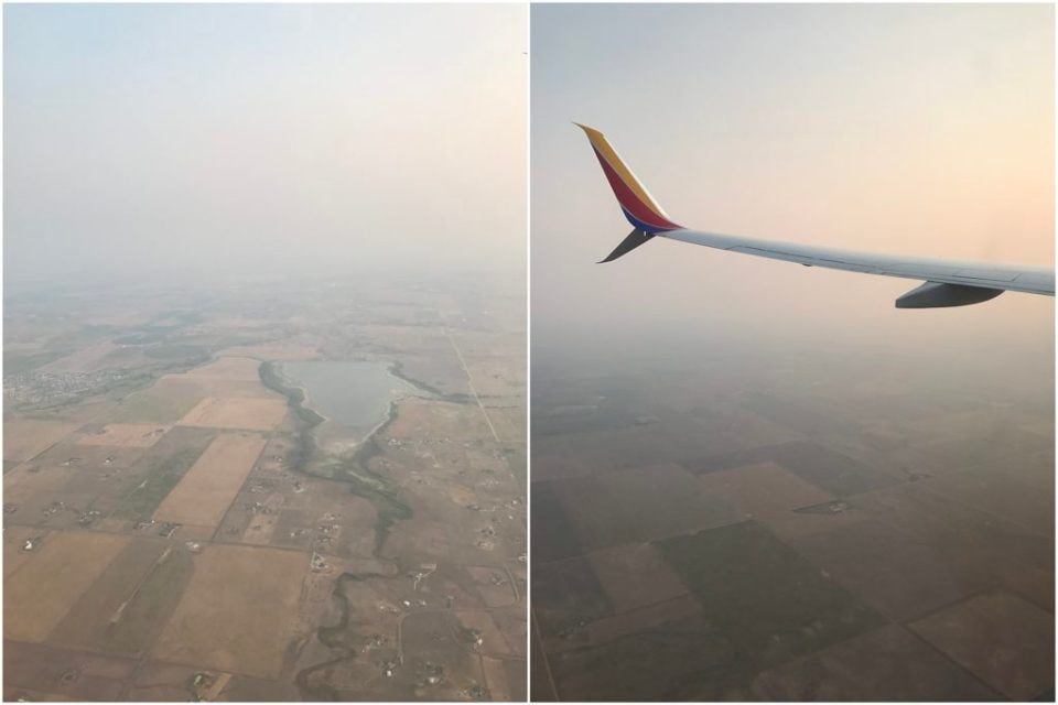smoky skies from the plane