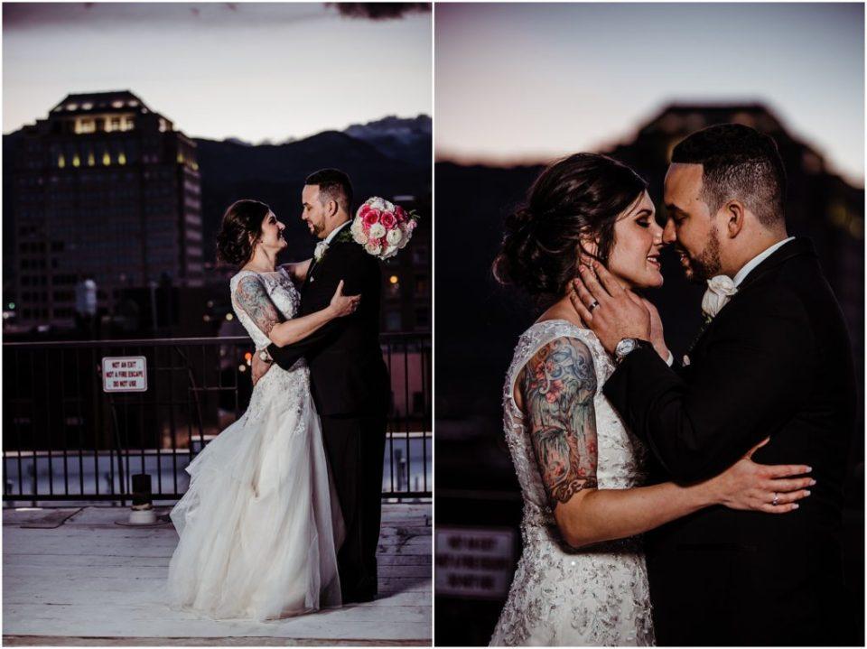 colorado springs rooftop ocf nighttime wedding photos
