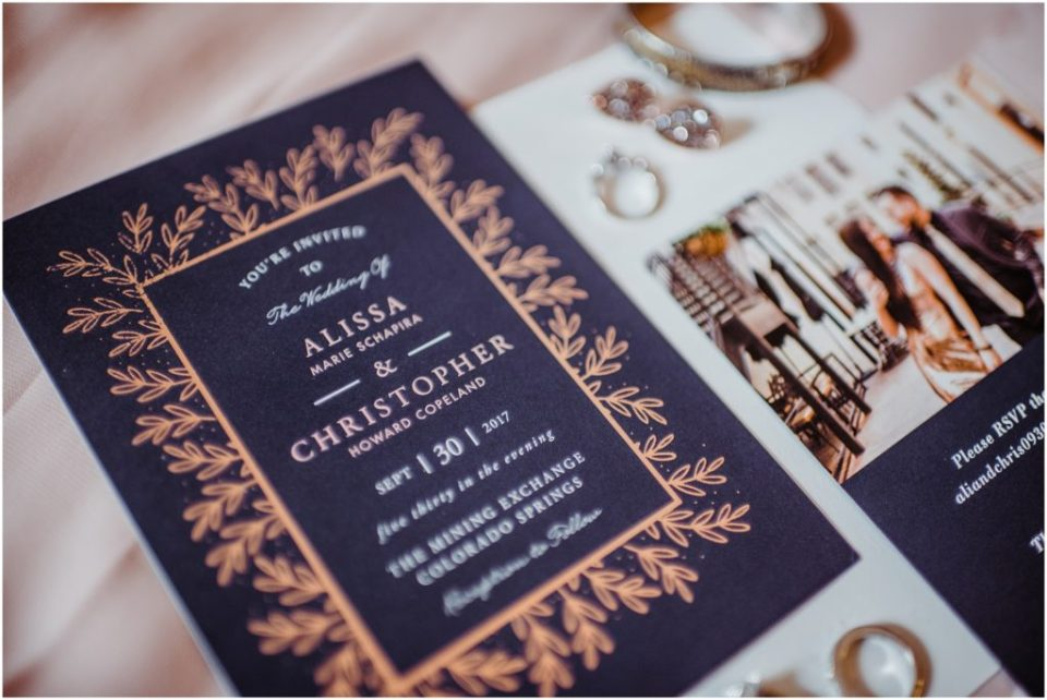 blue and gold wedding invites from minted