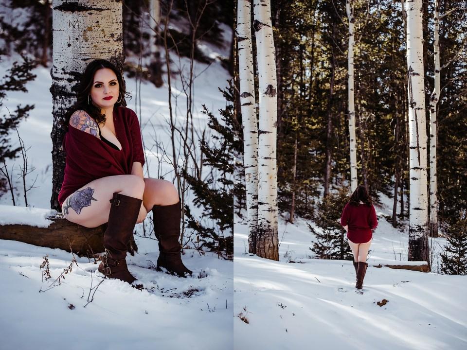 snowy outdoor mountain boudoir in colorado