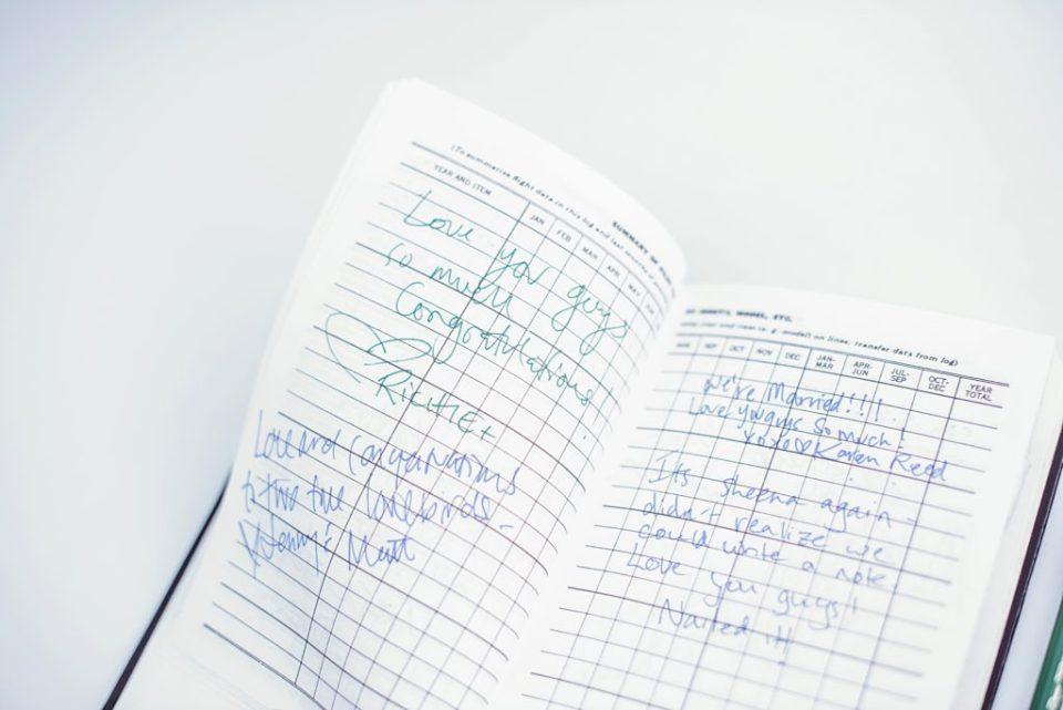 pilot log guest book