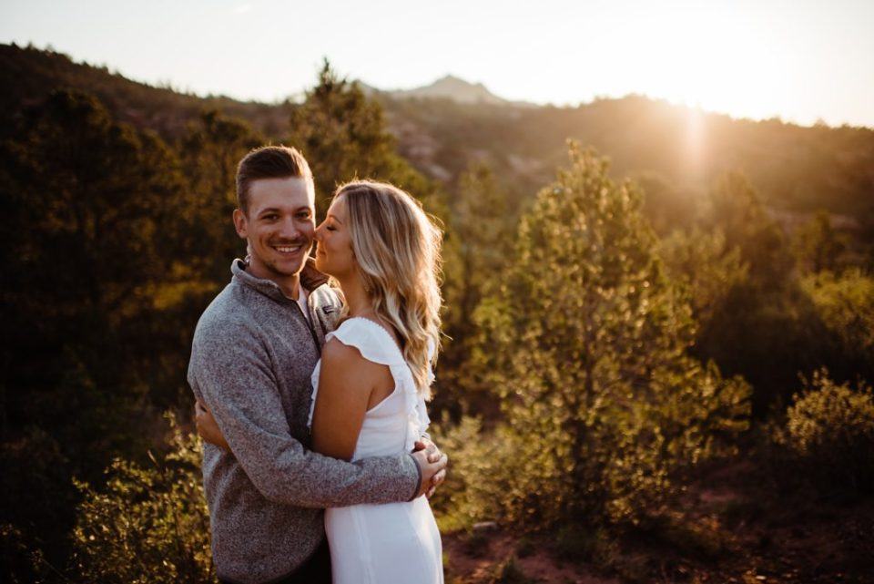 romantic sunrise engagement session at garden of the gods
