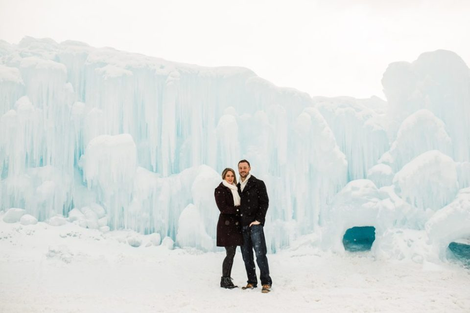 engagement session at the ice castles in dillion colorado