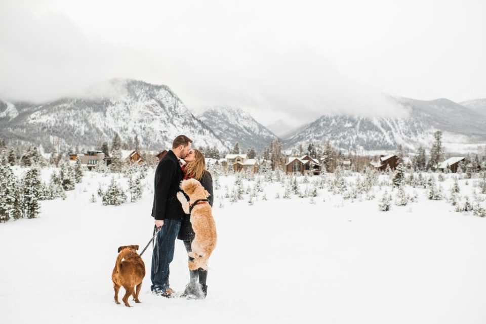 wintery engagement session in the colorado mountains