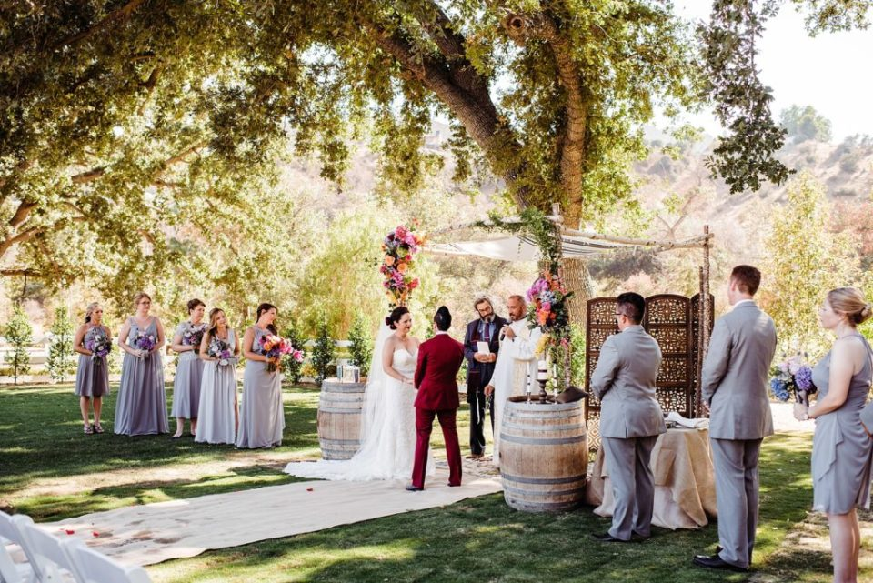 outdoor wedding ceremony at brookview ranch in agoura hills