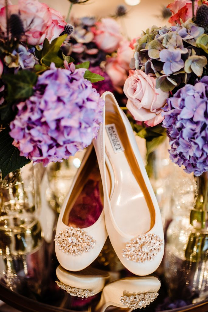 bride shoes with flowers