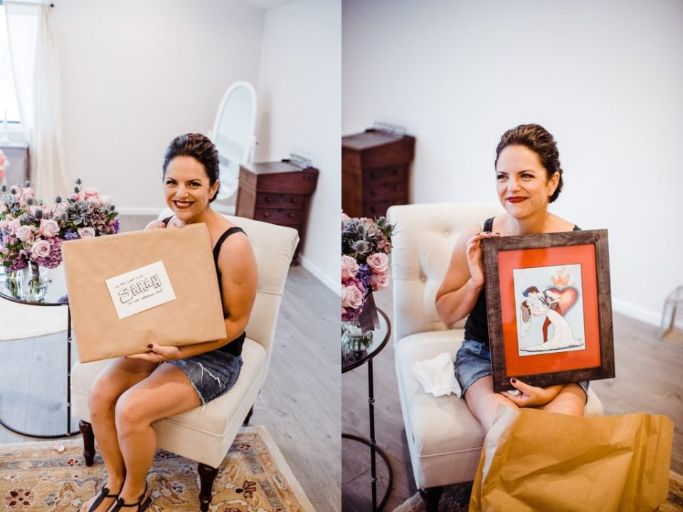bride opening up gift