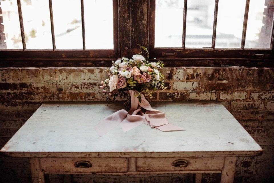 wedding flowers on a desk