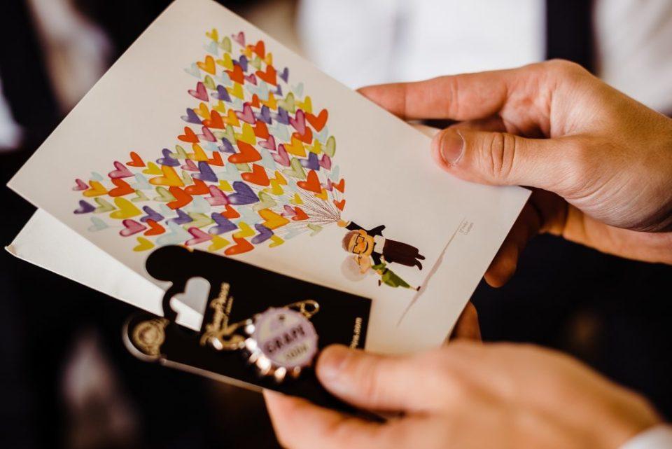 groom getting gift