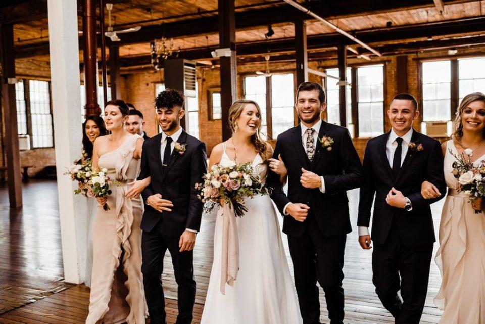 wedding party photos at the metropolitan building in long island city