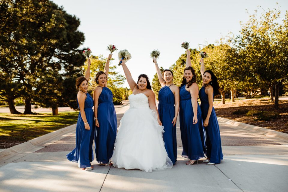 bridal party in blue dresses