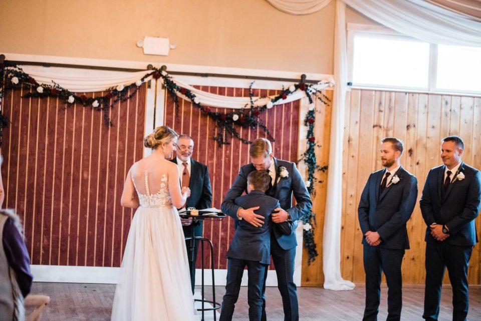 rustic lace barn wedding ceremony