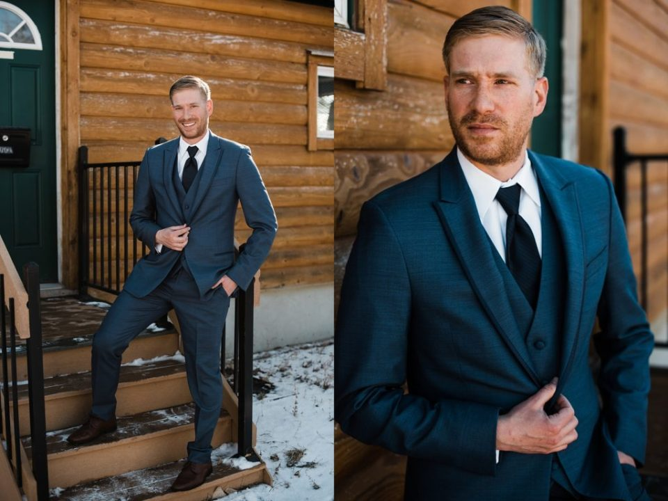 grooms portraits at rustic lace barn