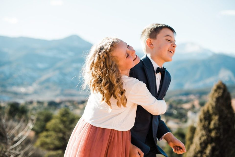 wedding party photos at high point at garden of the gods in colorado springs