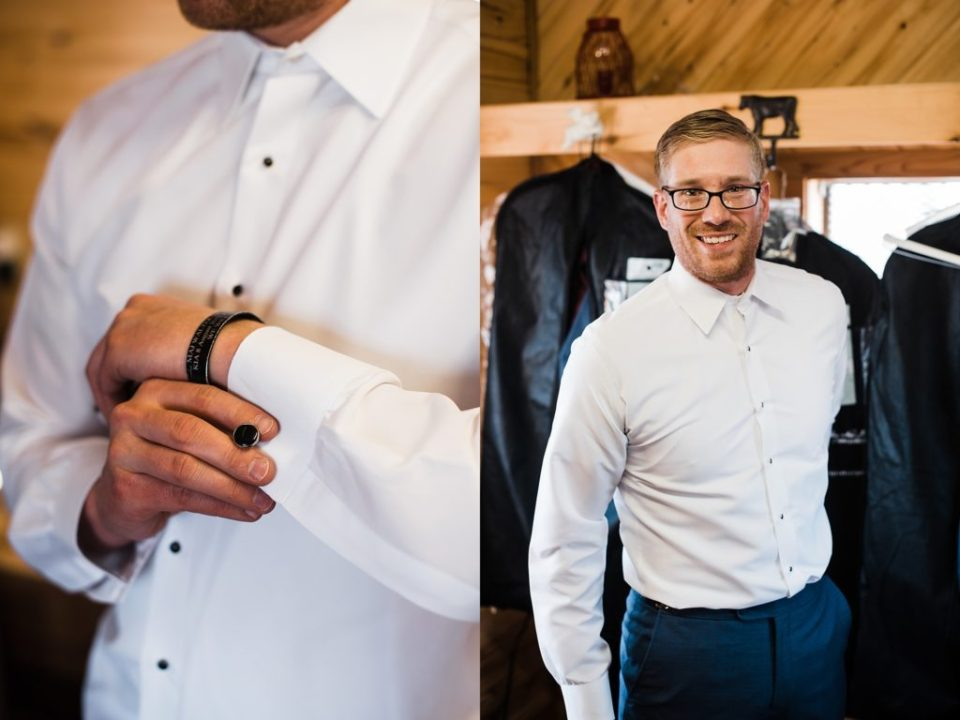 groom getting ready at rustic lace barn