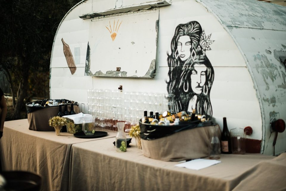 outdoor wedding reception at the palm springs ace hotel