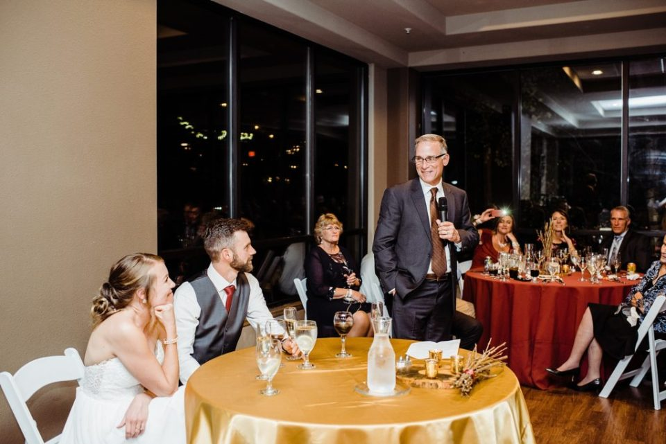 wedding toasts at reception