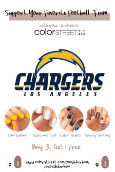Los Angeles Chargers DIY Manicure with Color Street