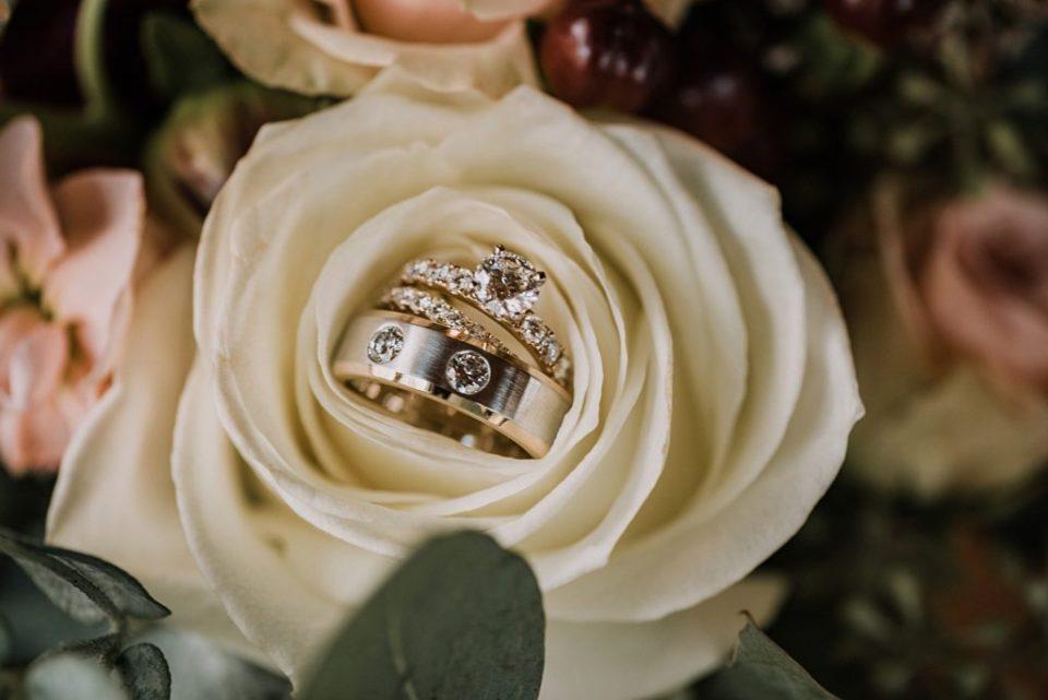 wedding ring on flowers