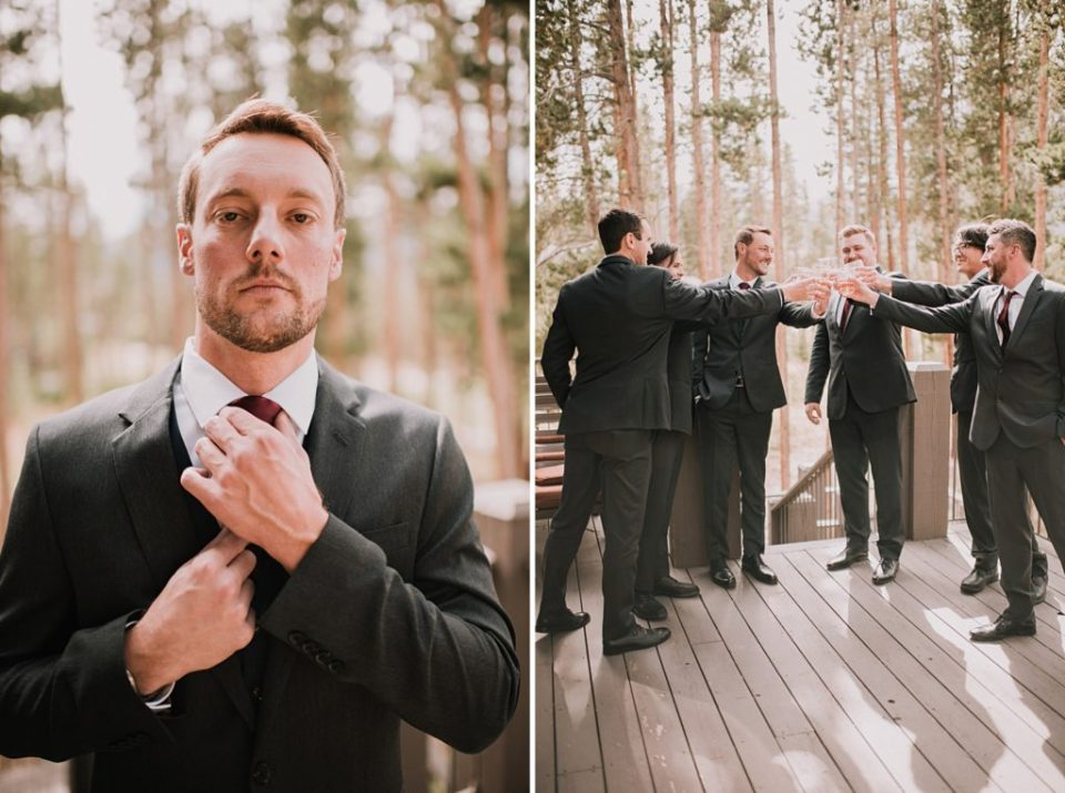 groom getting ready outside cabin for mountain wedding