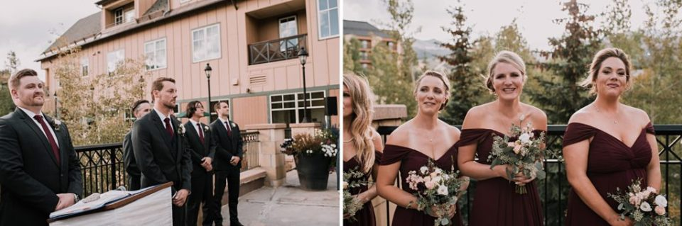 outdoor wedding ceremony at Main Street Station in Breckenridge Colorad