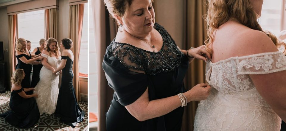 bride getting ready at hotel icon in houston texas