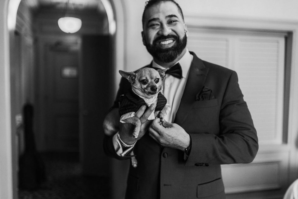 groom with chihuahua