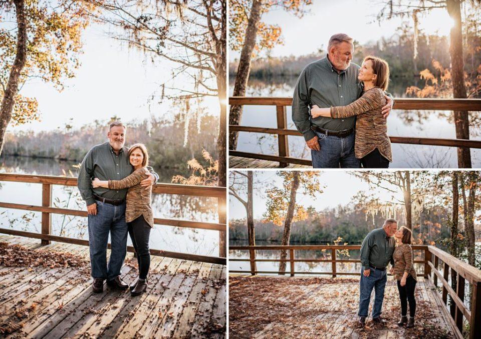 couple kissing on a fishing dock in kingsland