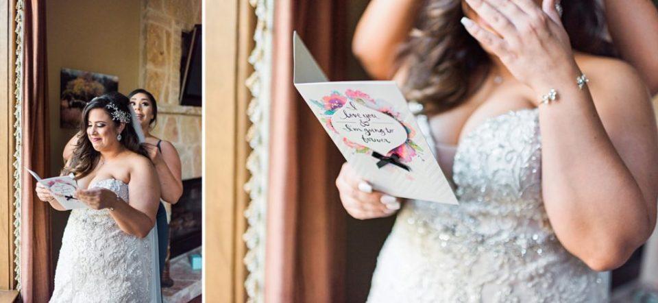 bride reading sentimental card