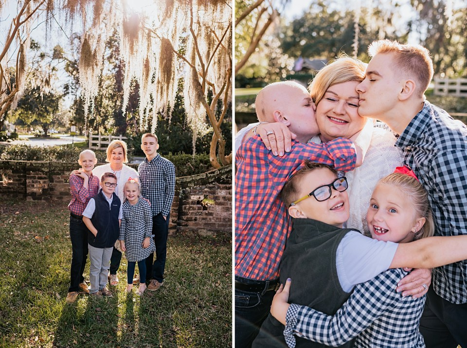 on left grandchildren with grandmother and on right grandchildren showing lots of love to their grandmother