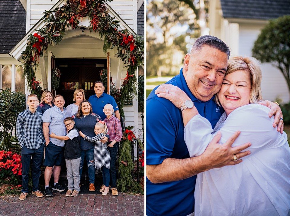 on left a family picture standing up and on right grandparents hugging