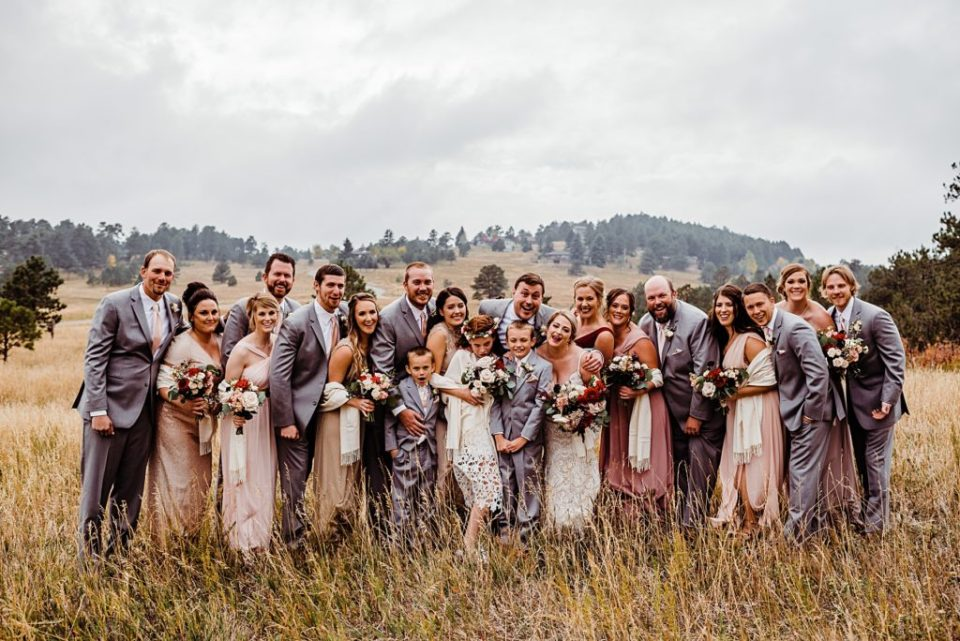 shades of pink and gray wedding party