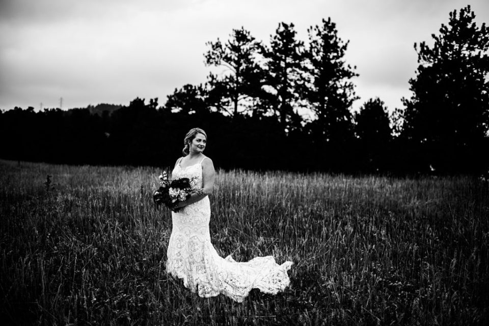 black and white colorado bride