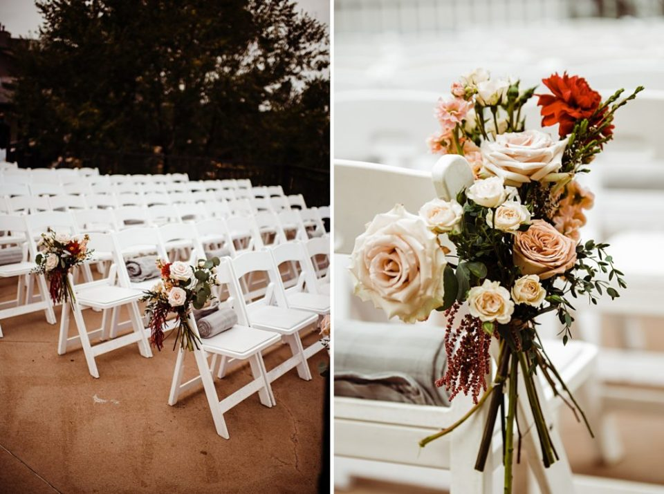 roses tied to chairs for wedding ceremony