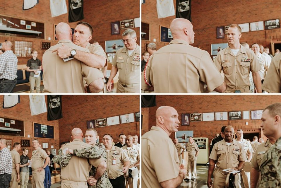 sailors congratulating newly retired chief