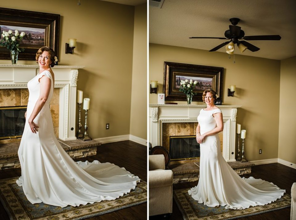 bride in front of the fireplace