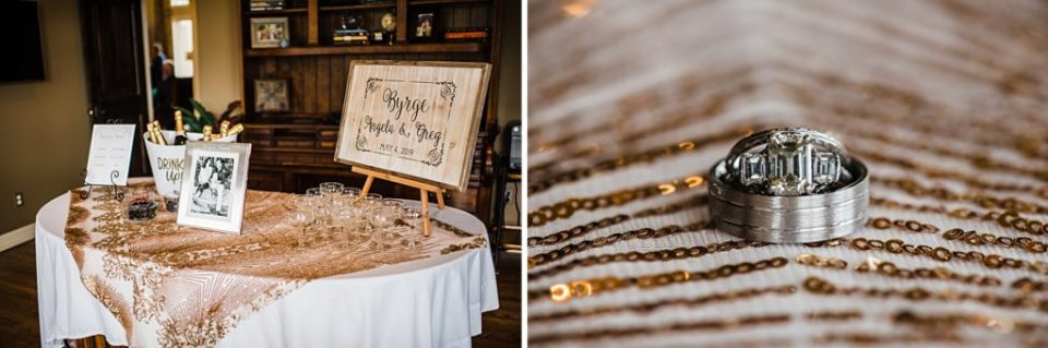 entrance table with gold sequins