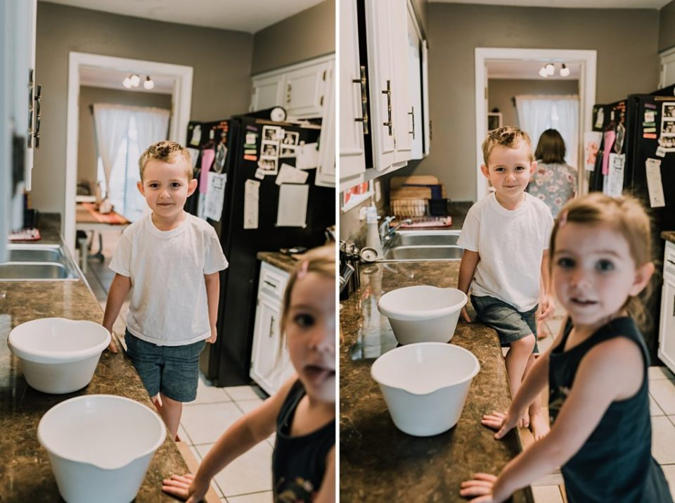 kids getting ready to make waffles with mom