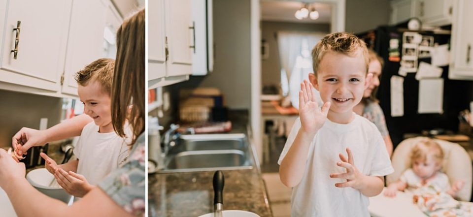making pancakes with mom lifestyle photography session