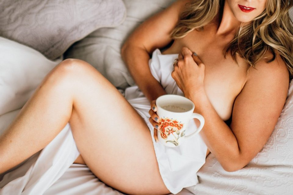 naked bride in bed with coffee