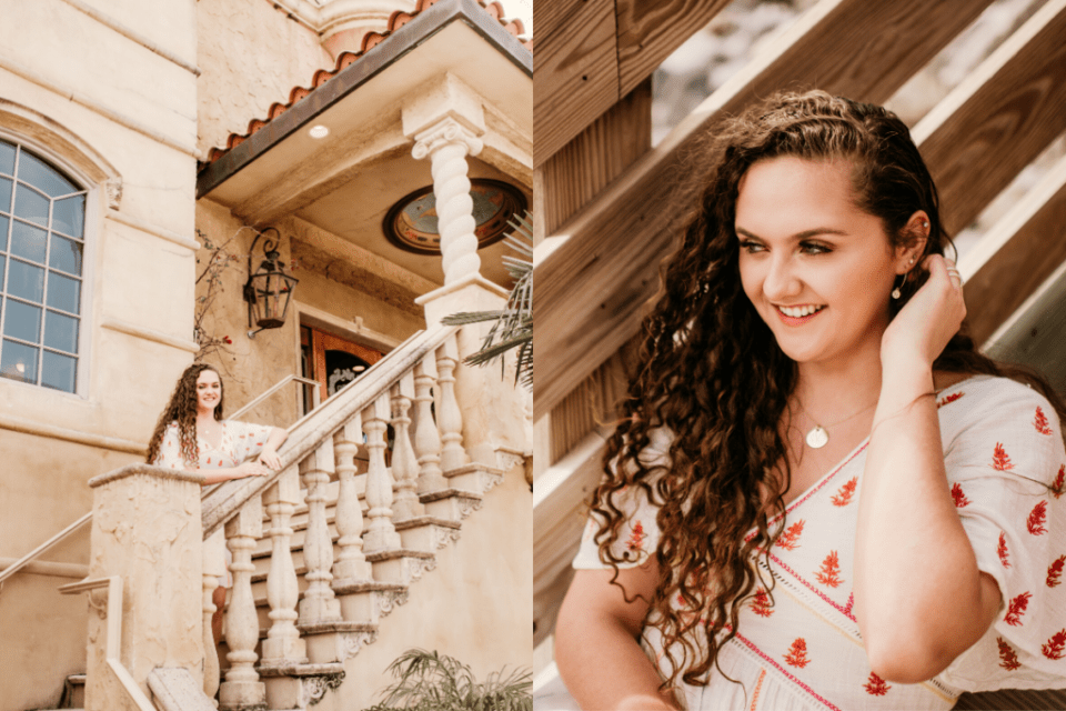 senior girl with old architecture
