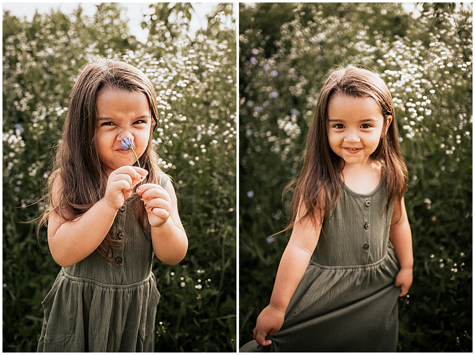 3 year old girl making silly faces with flower