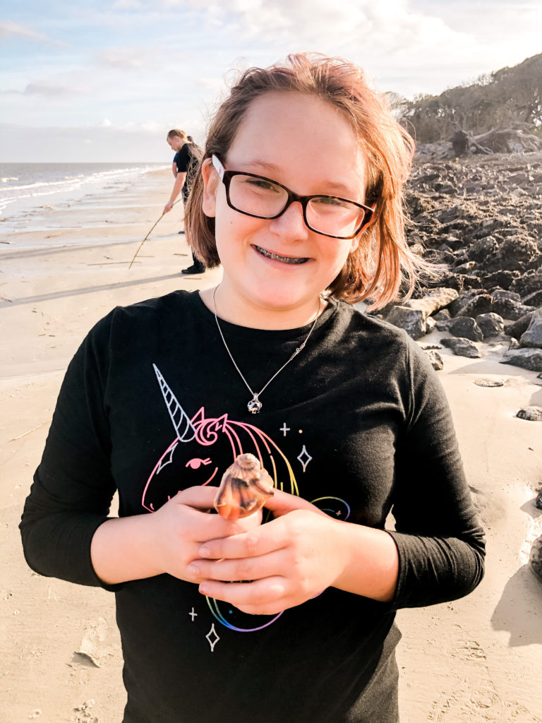 sierra collecting seashells at jekyll island