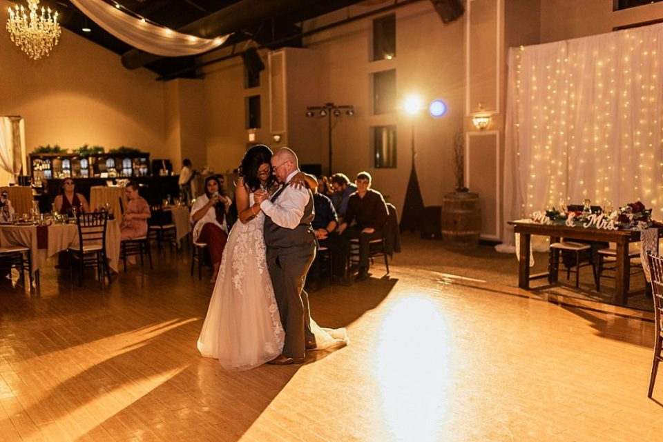 bride and groom dancing at indoor reception at wedgewood black forest wedding