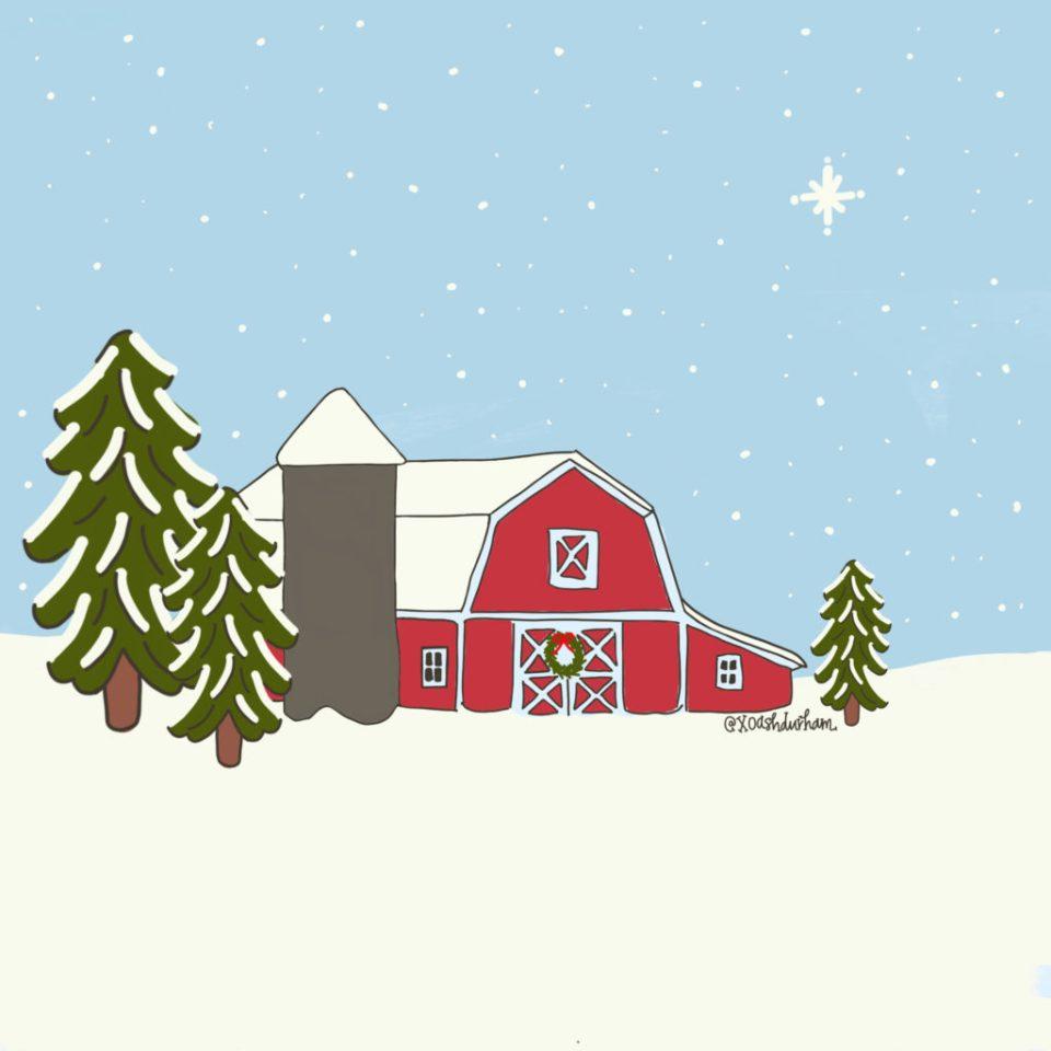snowy wisconsin farm digital art