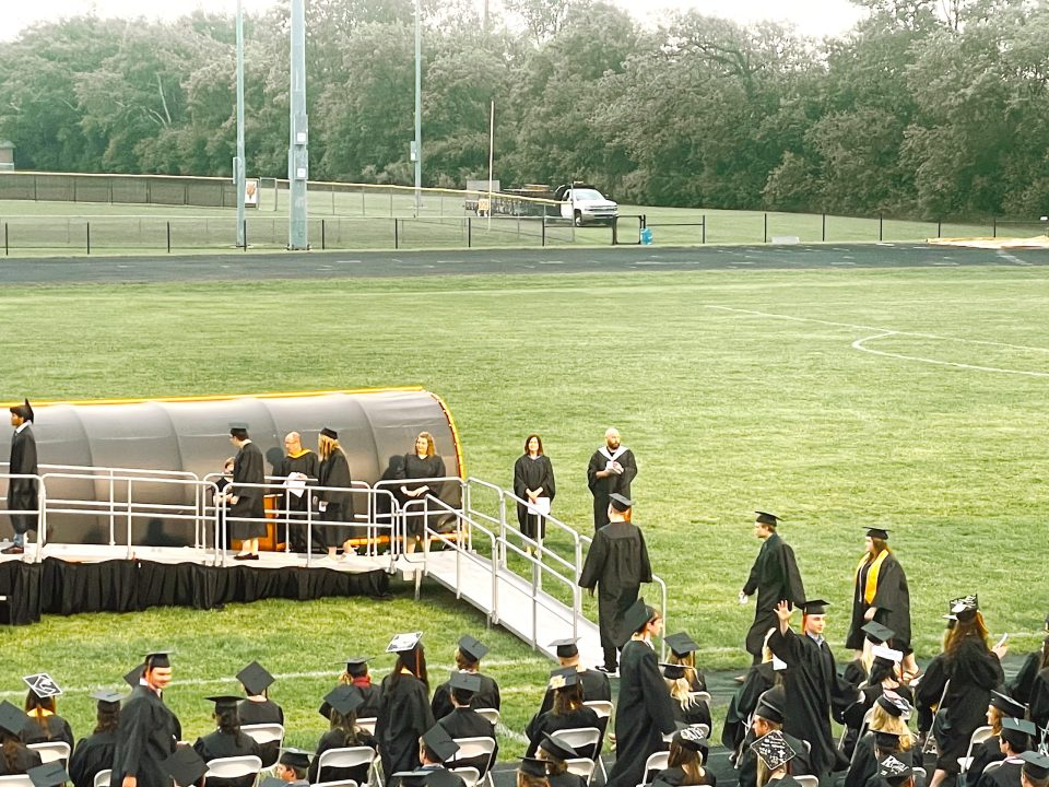 seniors in line to get diploma