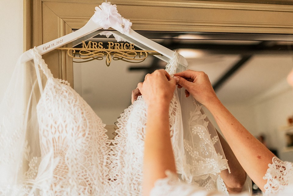 bridal gown on personalized mrs hanger