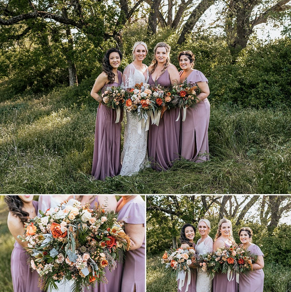 bridal party in the texas grass