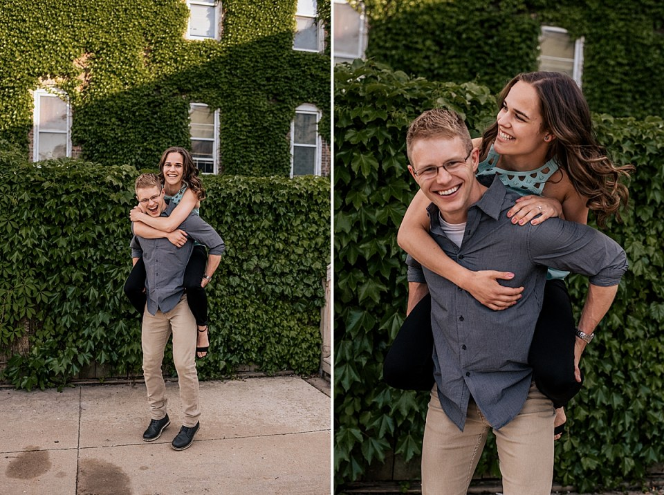 man giving fiancea piggy back ride during engagement session